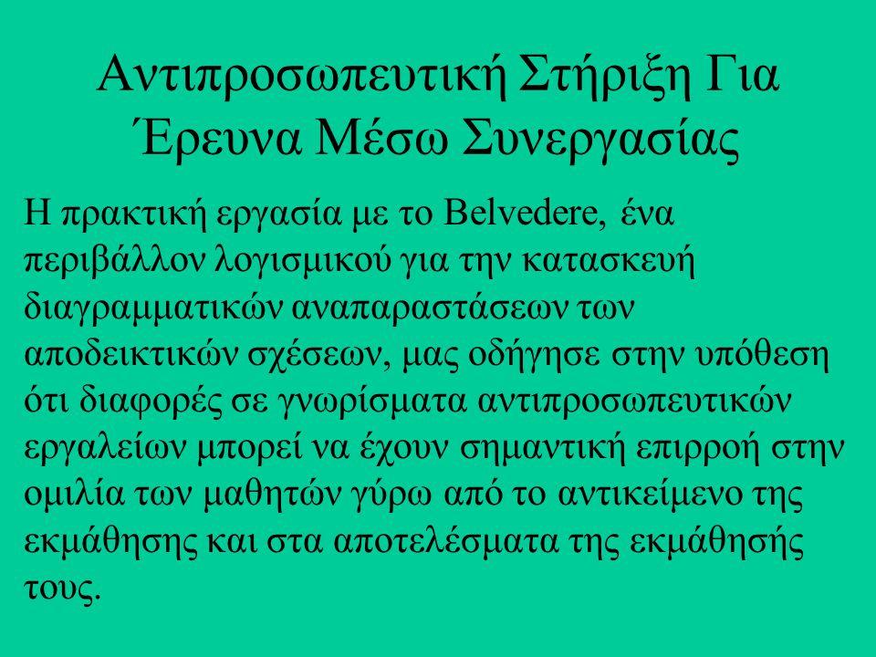 Αντιπροσωπευτική Στήριξη Για Έρευνα Mέσω Συνεργασίας Η πρακτική εργασία με το Belvedere, ένα περιβάλλον λογισμικού για την κατασκευή διαγραμματικών αν