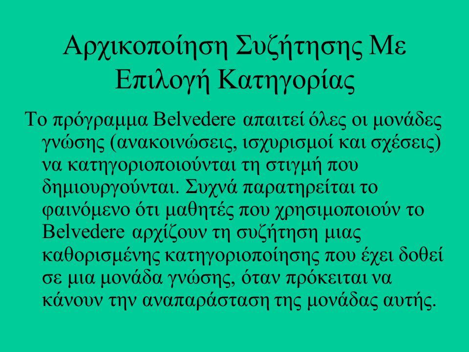 Αρχικοποίηση Συζήτησης Με Επιλογή Κατηγορίας Το πρόγραμμα Belvedere απαιτεί όλες οι μονάδες γνώσης (ανακοινώσεις, ισχυρισμοί και σχέσεις) να κατηγοριοποιούνται τη στιγμή που δημιουργούνται.