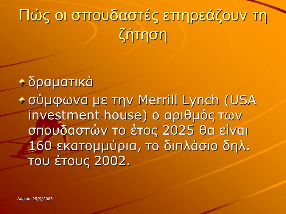 Λάρισα 25/9/2006 Πώς οι σπουδαστές επηρεάζουν τη ζήτηση δραματικά σύμφωνα με την Merrill Lynch (USA investment house) ο αριθμός των σπουδαστών το έτος 2025 θα είναι 160 εκατομμύρια, το διπλάσιο δηλ.