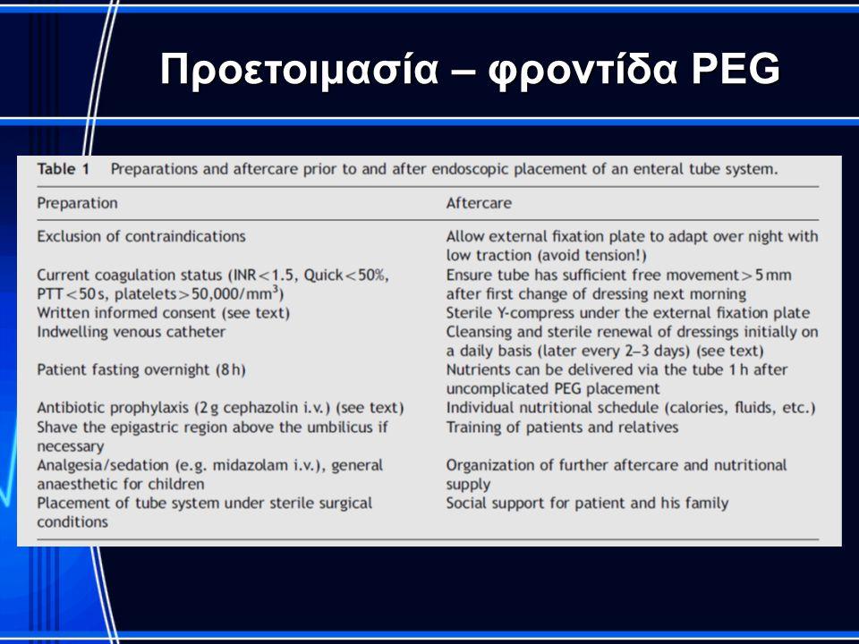 Προετοιμασία – φροντίδα PEG