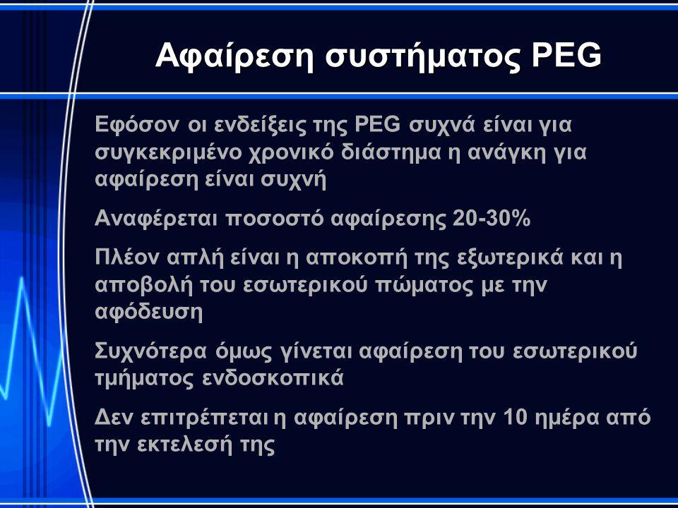 Αφαίρεση συστήματος PEG Εφόσον οι ενδείξεις της PEG συχνά είναι για συγκεκριμένο χρονικό διάστημα η ανάγκη για αφαίρεση είναι συχνή Αναφέρεται ποσοστό