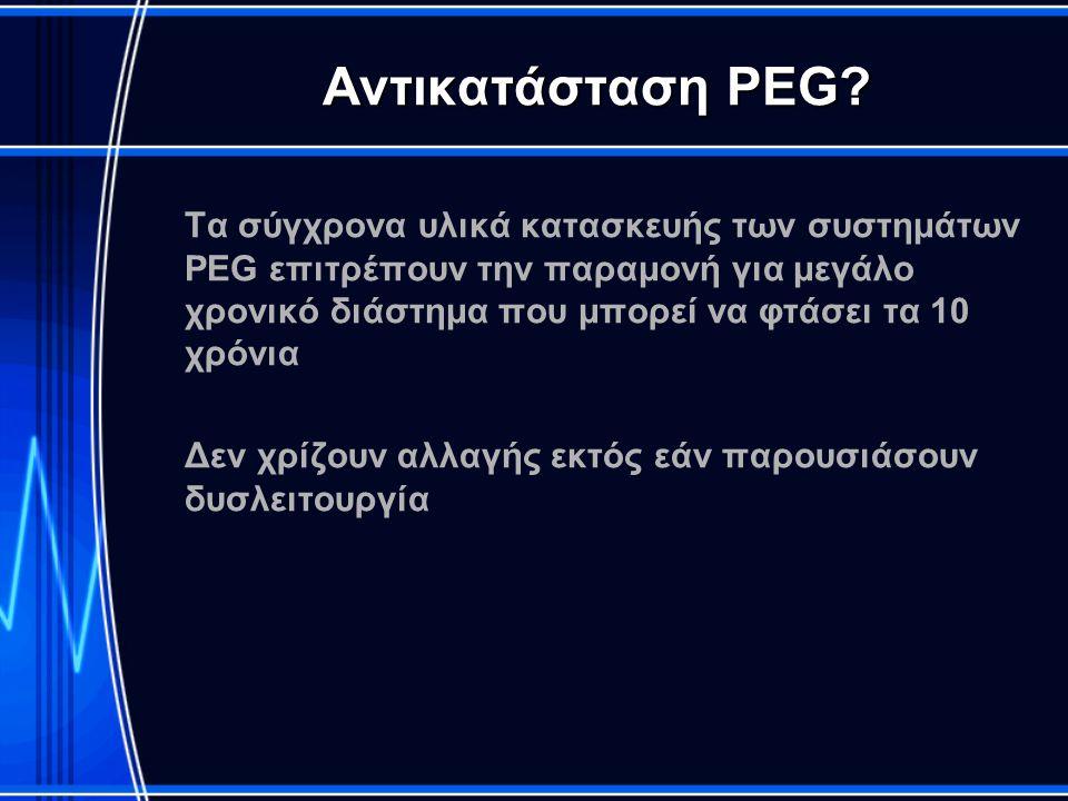 Αντικατάσταση PEG? Τα σύγχρονα υλικά κατασκευής των συστημάτων PEG επιτρέπουν την παραμονή για μεγάλο χρονικό διάστημα που μπορεί να φτάσει τα 10 χρόν