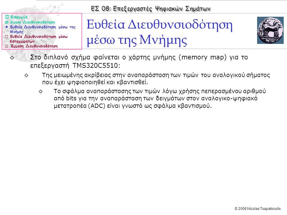 ΕΣ 08: Επεξεργαστές Ψηφιακών Σημάτων © 2006 Nicolas Tsapatsoulis ◊Στο διπλανό σχήμα φαίνεται ο χάρτης μνήμης (memory map) για το επεξεργαστή TMS320C55