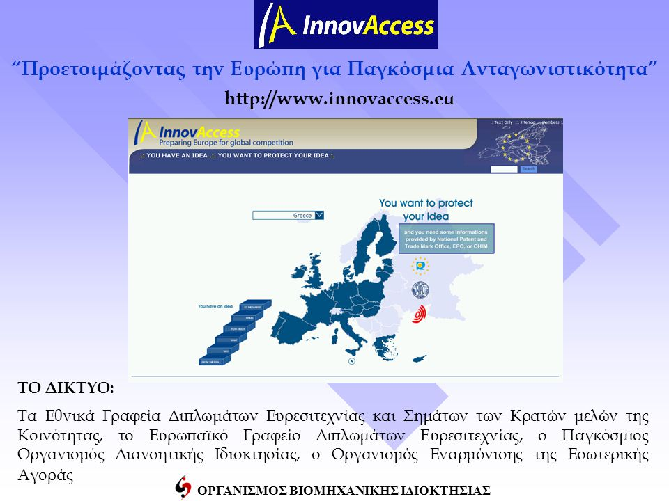 ΟΡΓΑΝΙΣΜΟΣ ΒΙΟΜΗΧΑΝΙΚΗΣ ΙΔΙΟΚΤΗΣΙΑΣ http://www.innovaccess.eu Προετοιμάζοντας την Ευρώπη για Παγκόσμια Ανταγωνιστικότητα ΤΟ ΔΙΚΤΥΟ: Τα Εθνικά Γραφεία Διπλωμάτων Ευρεσιτεχνίας και Σημάτων των Κρατών μελών της Κοινότητας, το Ευρωπαϊκό Γραφείο Διπλωμάτων Ευρεσιτεχνίας, ο Παγκόσμιος Οργανισμός Διανοητικής Ιδιοκτησίας, ο Οργανισμός Εναρμόνισης της Εσωτερικής Αγοράς