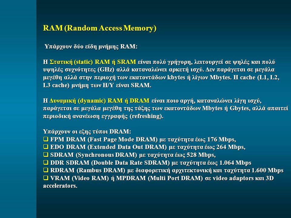 RAM (Random Access Memory) Υπάρχουν δύο είδη μνήμης RAM: Υπάρχουν δύο είδη μνήμης RAM: Η Στατική (static) RAM ή SRAM είναι πολύ γρήγορη, λειτουργεί σε ψηλές και πολύ υψηλές συχνότητες (GHz) αλλά καταναλώνει αρκετή ισχύ.
