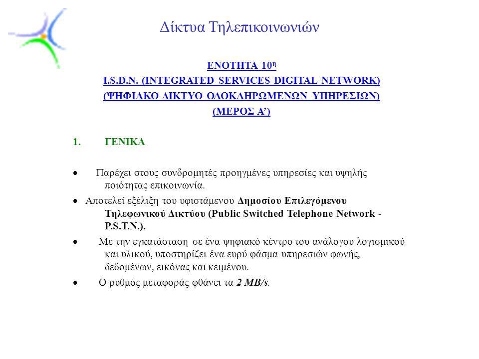 Slide 1 Δίκτυα Τηλεπικοινωνιών ENOTHTA 10 η I.S.D.N.