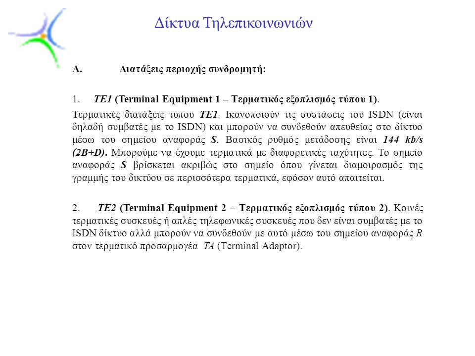 Slide 6 Δίκτυα Τηλεπικοινωνιών A.Διατάξεις περιοχής συνδρομητή: 1.