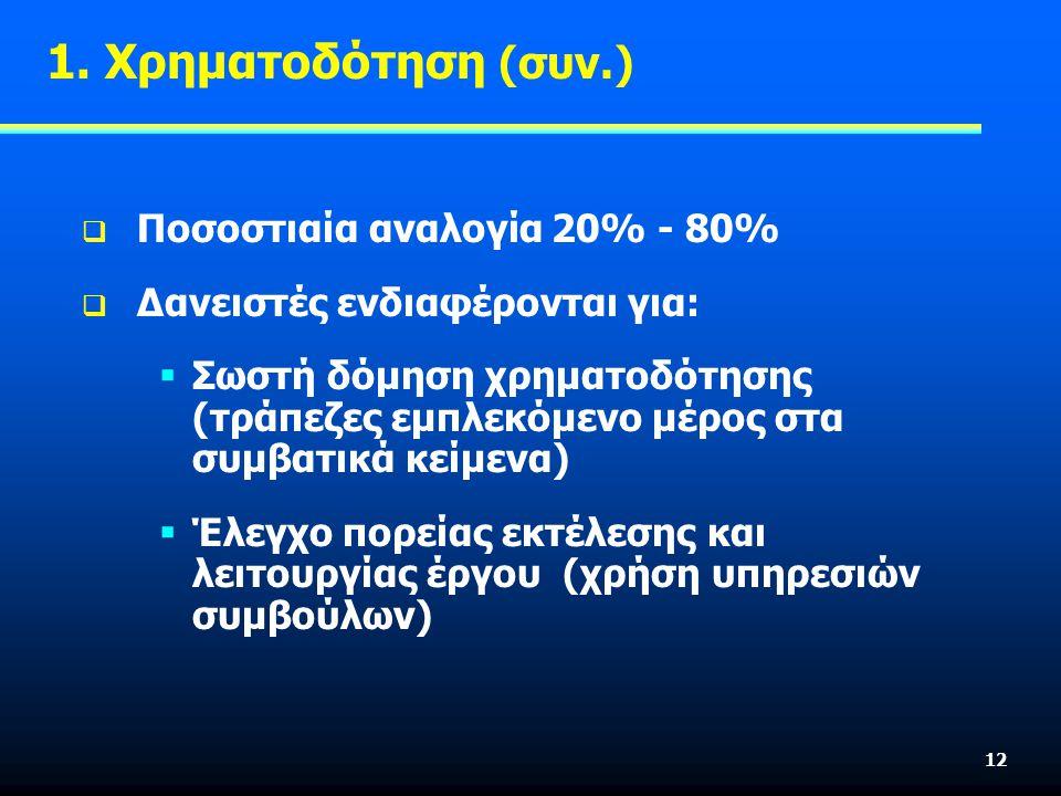 12  Ποσοστιαία αναλογία 20% - 80%  Δανειστές ενδιαφέρονται για:  Σωστή δόμηση χρηματοδότησης (τράπεζες εμπλεκόμενο μέρος στα συμβατικά κείμενα)  Έλεγχο πορείας εκτέλεσης και λειτουργίας έργου (χρήση υπηρεσιών συμβούλων) 1.