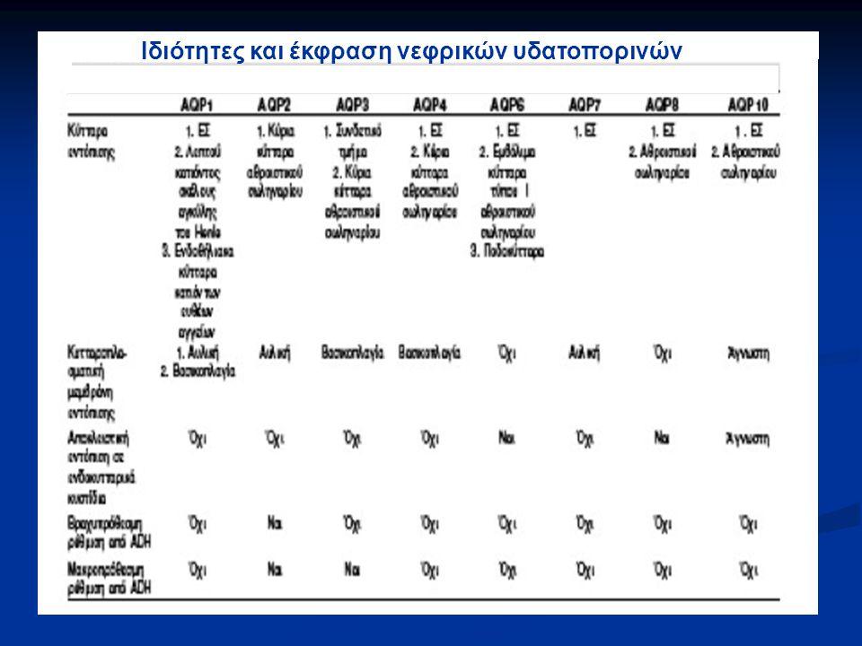 Διαταραχές νατρίου και ισοζυγίου του νερού λόγω δυσλειτουργίας των νεφρικών υδατοπορινών (ΙΙ)