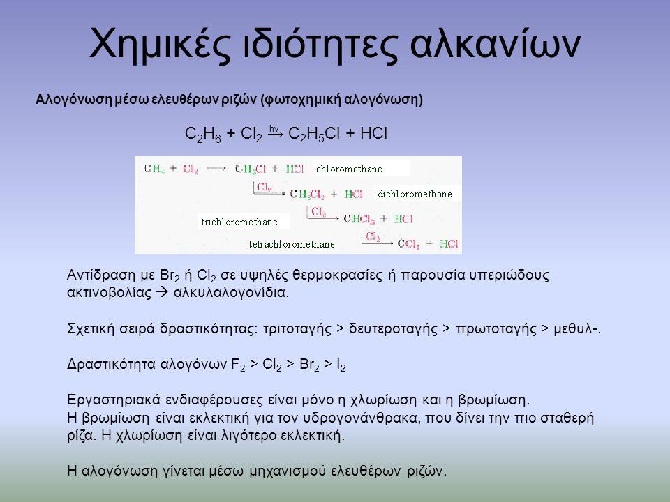 Αλογόνωση μέσω ελευθέρων ριζών (φωτοχημική αλογόνωση) Χημικές ιδιότητες αλκανίων Αντίδραση με Br 2 ή Cl 2 σε υψηλές θερμοκρασίες ή παρουσία υπεριώδους