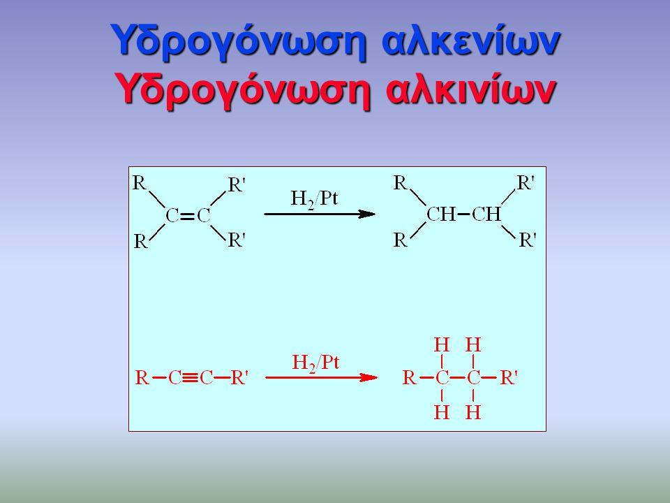 Υδρογόνωση αλκενίων Υδρογόνωση αλκινίων