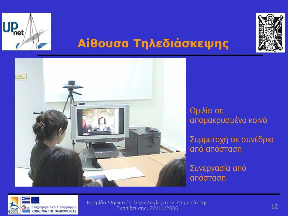 Ημερίδα Ψηφιακές Τεχνολογίες στην Υπηρεσία της Εκπαίδευσης, 22/11/2006 12 Αίθουσα Τηλεδιάσκεψης Ομιλία σε απομακρυσμένο κοινό Συμμετοχή σε συνέδριο από απόσταση Συνεργασία από απόσταση