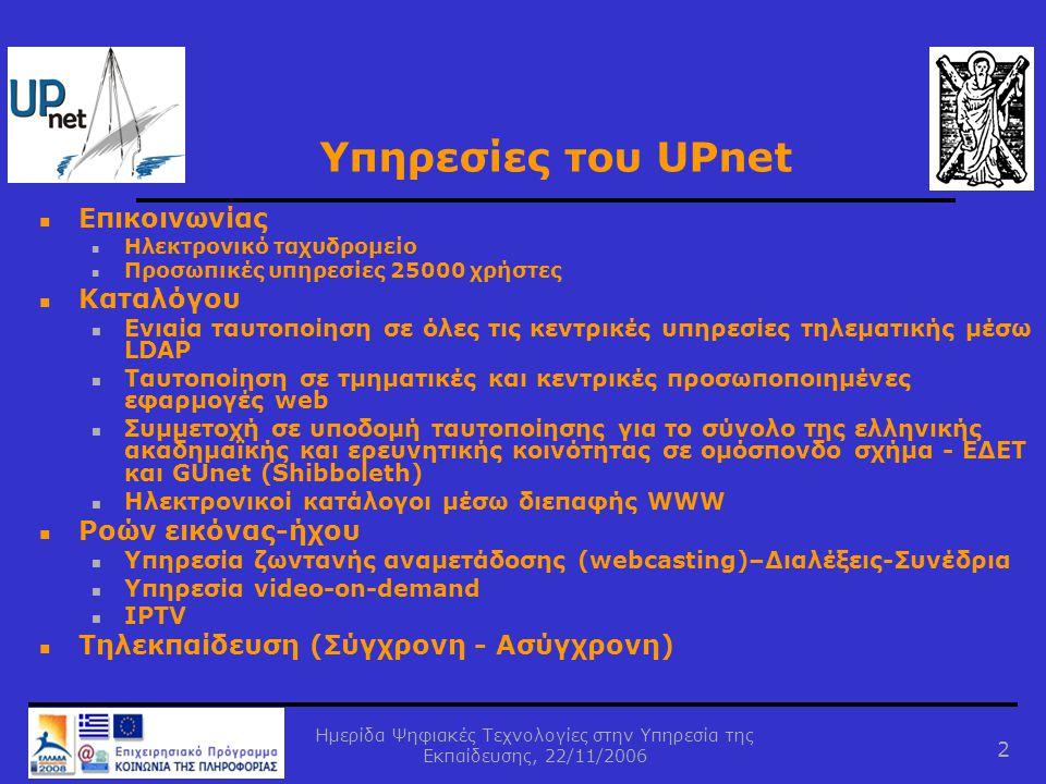 Ημερίδα Ψηφιακές Τεχνολογίες στην Υπηρεσία της Εκπαίδευσης, 22/11/2006 2 Υπηρεσίες του UPnet  Επικοινωνίας  Ηλεκτρονικό ταχυδρομείο  Προσωπικές υπη