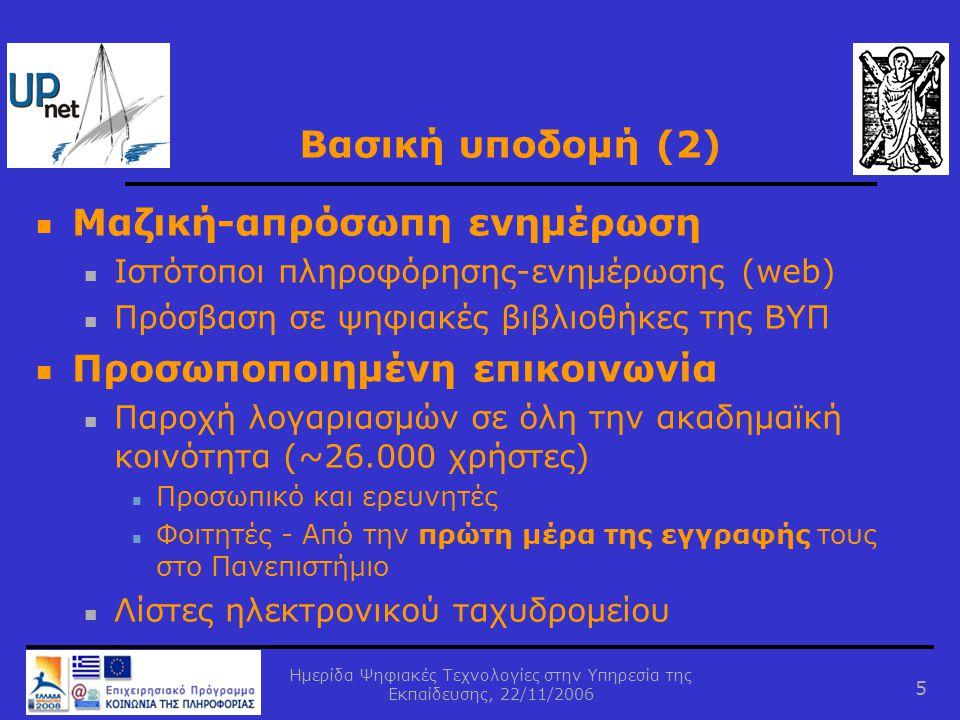 Ημερίδα Ψηφιακές Τεχνολογίες στην Υπηρεσία της Εκπαίδευσης, 22/11/2006 6 Υποστήριξη μαθημάτων http://eclass.upatras.gr Στατιστικά στοιχεία:  Καθηγητές: 183 (~25%)  Φοιτητές: 4746 (~30% ενεργών φοιτητών)  Μαθήματα: 363