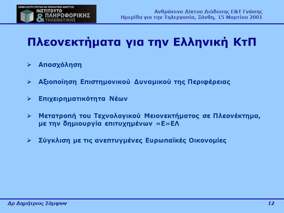 Δρ Δημήτριος Σάμψων12 Ανθρώπινο Δίκτυο Διάδοσης Ε&Τ Γνώσης Ημερίδα για την Τηλεργασία, Ξάνθη, 15 Μαρτίου 2001 Πλεονεκτήματα για την Ελληνική ΚτΠ  Απασχόληση  Αξιοποίηση Επιστημονικού Δυναμικού της Περιφέρειας  Επιχειρηματικότητα Νέων  Μετατροπή του Τεχνολογικού Μειονεκτήματος σε Πλεονέκτημα, με την δημιουργία επιτυχημένων «Ε»ΕΛ  Σύγκλιση με τις ανεπτυγμένες Ευρωπαϊκές Οικονομίες