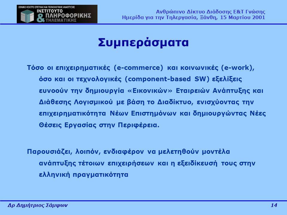Δρ Δημήτριος Σάμψων14 Ανθρώπινο Δίκτυο Διάδοσης Ε&Τ Γνώσης Ημερίδα για την Τηλεργασία, Ξάνθη, 15 Μαρτίου 2001 Συμπεράσματα Τόσο οι επιχειρηματικές (e-commerce) και κοινωνικές (e-work), όσο και οι τεχνολογικές (component-based SW) εξελίξεις ευνοούν την δημιουργία «Εικονικών» Εταιρειών Ανάπτυξης και Διάθεσης Λογισμικού με βάση το Διαδίκτυο, ενισχύοντας την επιχειρηματικότητα Νέων Επιστημόνων και δημιουργώντας Νέες Θέσεις Εργασίας στην Περιφέρεια.