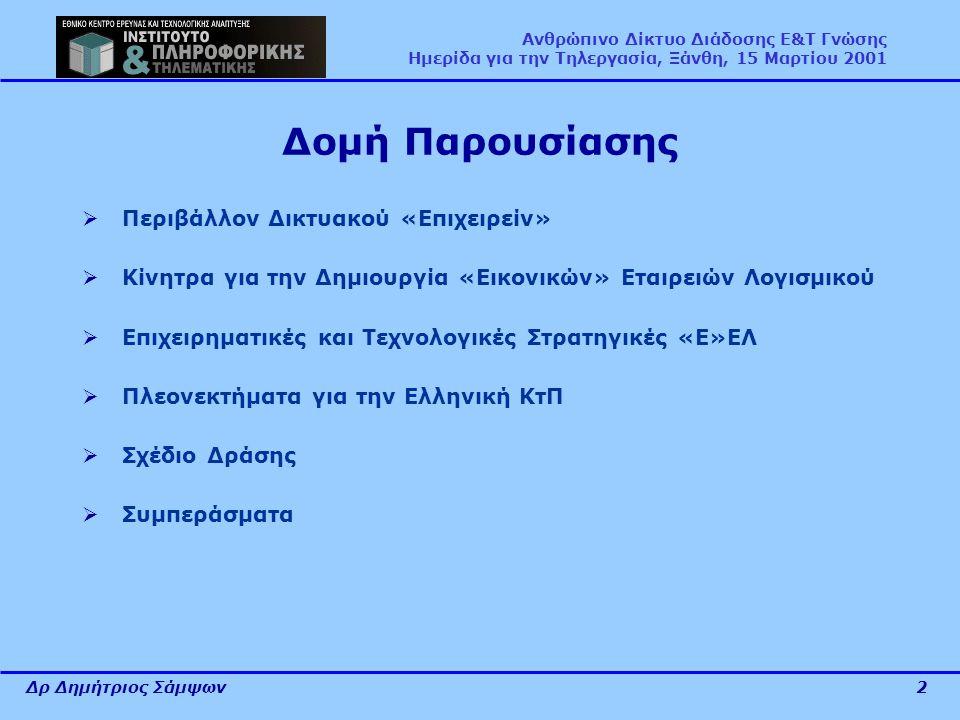 Δρ Δημήτριος Σάμψων2 Ανθρώπινο Δίκτυο Διάδοσης Ε&Τ Γνώσης Ημερίδα για την Τηλεργασία, Ξάνθη, 15 Μαρτίου 2001 Δομή Παρουσίασης  Περιβάλλον Δικτυακού «Επιχειρείν»  Κίνητρα για την Δημιουργία «Εικονικών» Εταιρειών Λογισμικού  Επιχειρηματικές και Τεχνολογικές Στρατηγικές «Ε»ΕΛ  Πλεονεκτήματα για την Ελληνική ΚτΠ  Σχέδιο Δράσης  Συμπεράσματα