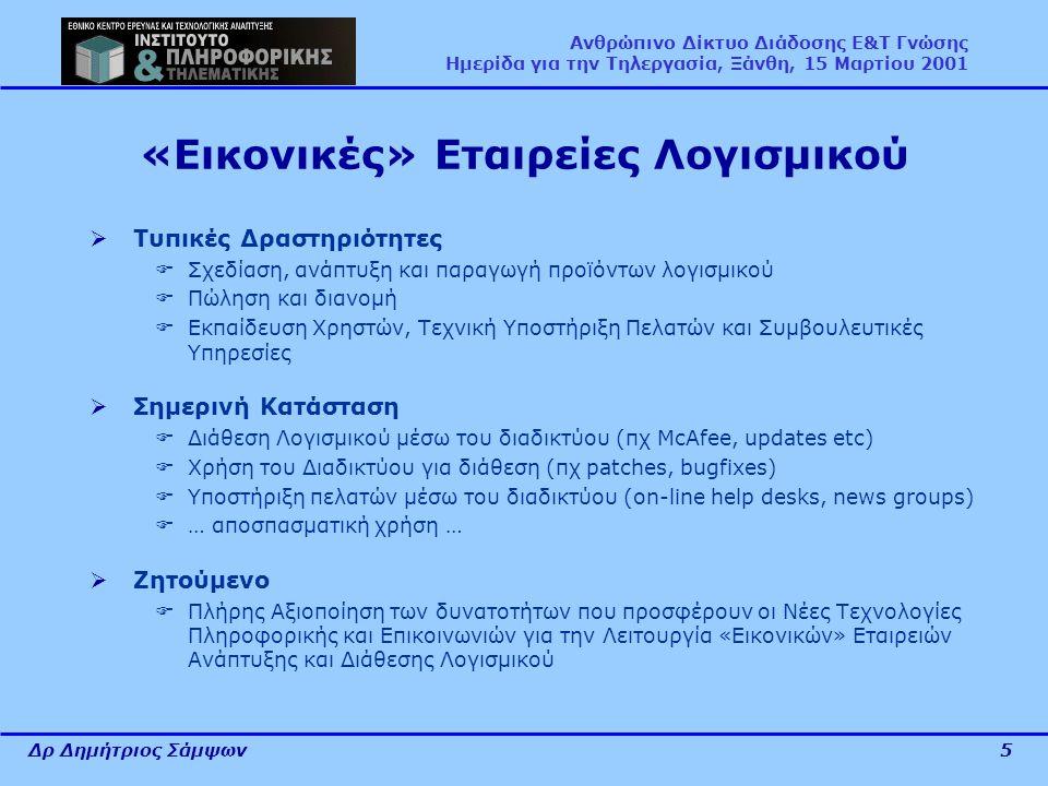 Δρ Δημήτριος Σάμψων5 Ανθρώπινο Δίκτυο Διάδοσης Ε&Τ Γνώσης Ημερίδα για την Τηλεργασία, Ξάνθη, 15 Μαρτίου 2001 «Εικονικές» Εταιρείες Λογισμικού  Τυπικέ