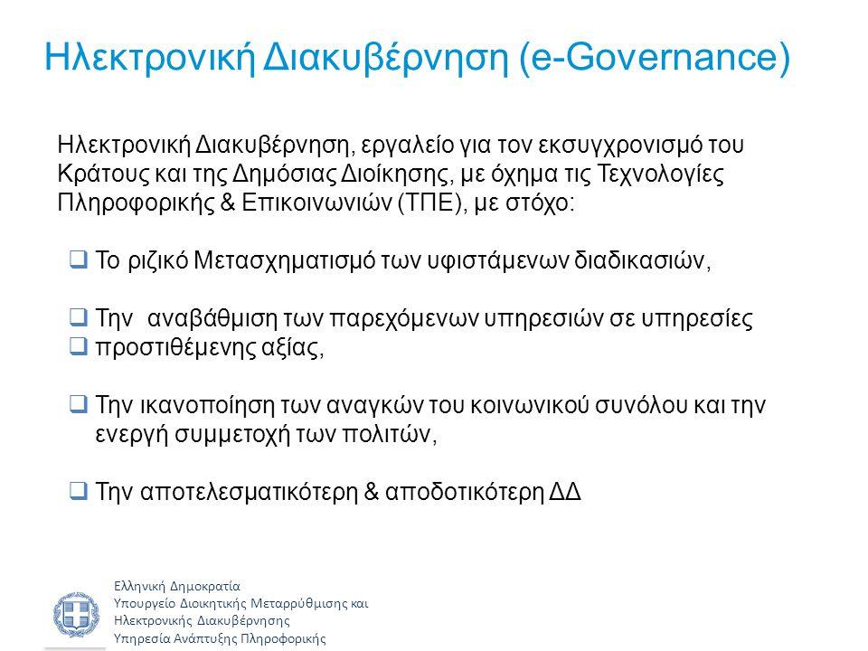 Ελληνική Δημοκρατία Υπουργείο Διοικητικής Μεταρρύθμισης και Ηλεκτρονικής Διακυβέρνησης Υπηρεσία Ανάπτυξης Πληροφορικής Ιεράρχηση δράσεων Δράσεις πρώτης προτεραιότητας: • Ανάπτυξη/εμπλουτισμός και εφαρμογή των συστημάτων κορμού ηλεκτρονικής διακυβέρνησης (π.χ.