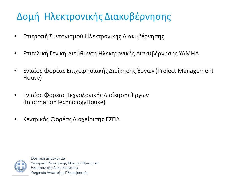 Ελληνική Δημοκρατία Υπουργείο Διοικητικής Μεταρρύθμισης και Ηλεκτρονικής Διακυβέρνησης Υπηρεσία Ανάπτυξης Πληροφορικής Σχέδιο Δράσης Ηλεκτρονικής Διακυβέρνησης Δράσεις που απαιτούνται για την υλοποίηση • της Στρατηγικής για την Ηλεκτρονική Διακυβέρνηση 2014-2017 • της Στρατηγικής για τη Διοικητική Μεταρρύθμιση • των έργων που θα ενταχθούν στη νέα προγραμματική περίοδο ΕΣΠΑ 2014-2020 Μέλημα η διασφάλιση – της εξοικονόμησης πόρων, – της μη επανάληψης ενεργειών, – της βιωσιμότητας των προτεινόμενων έργων – της απαρέγκλιτης τήρησης των γενικών αρχών της Στρατηγικής Ηλεκτρονικής Διακυβέρνησης.