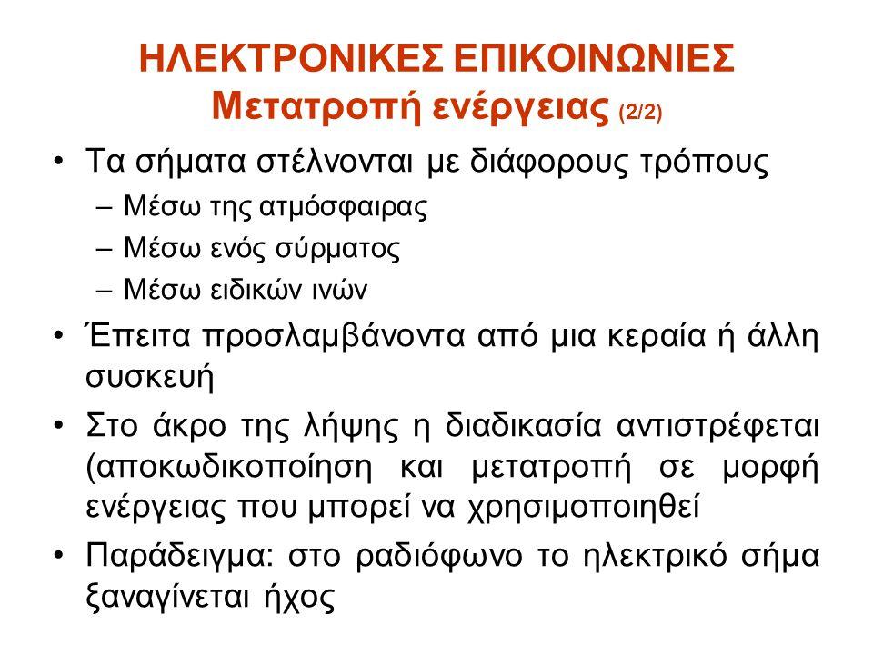 ΗΛΕΚΤΡΟΝΙΚΕΣ ΕΠΙΚΟΙΝΩΝΙΕΣ Ηλεκτρισμός & Μαγνητισμός •Ο ηλεκτρισμός εκδηλώνεται με τη μορφή ελεύθερων ηλεκτρονίων •Τα άτομα ορισμένων υλικών απελευθερώνουν ηλεκτρόνια κάτω από κατάλληλες συνθήκες •Αγωγοί: επιτρέπουν την ροή ηλεκτρονίων (π.χ.