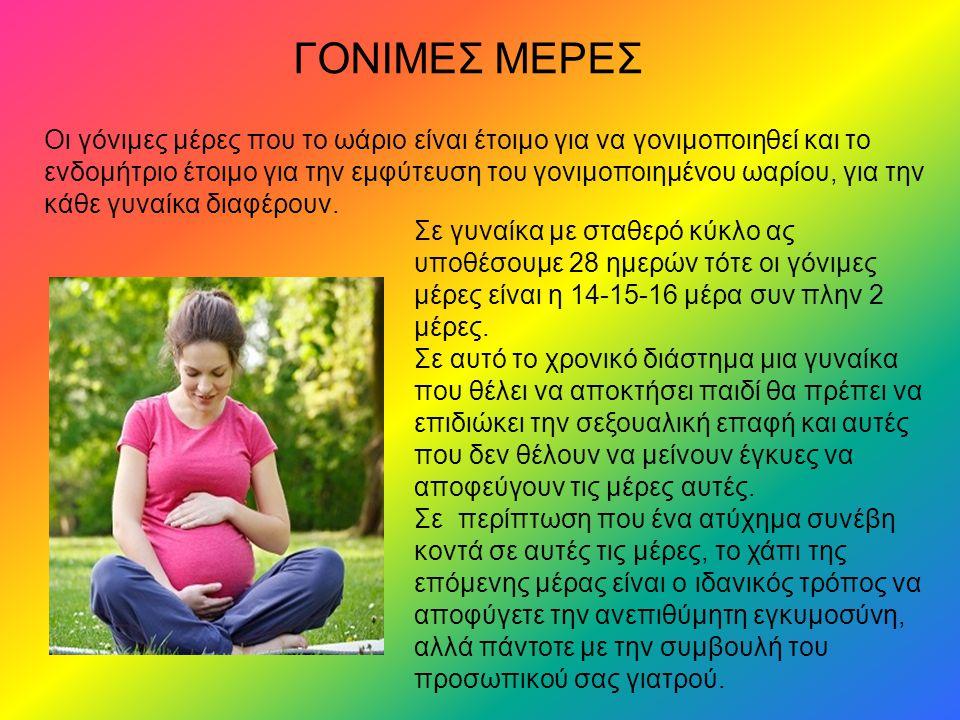 ΓΟΝΙΜΕΣ ΜΕΡΕΣ Οι γόνιμες μέρες που το ωάριο είναι έτοιμο για να γονιμοποιηθεί και το ενδομήτριο έτοιμο για την εμφύτευση του γονιμοποιημένου ωαρίου, για την κάθε γυναίκα διαφέρουν.