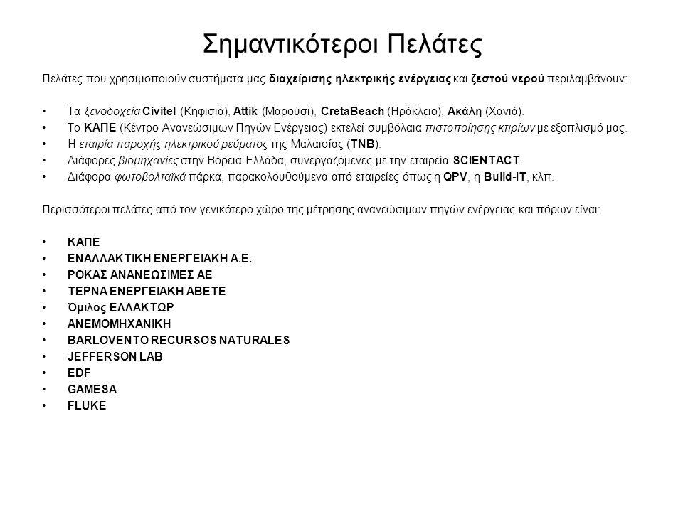 Σημαντικότεροι Πελάτες Πελάτες που χρησιμοποιούν συστήματα μας διαχείρισης ηλεκτρικής ενέργειας και ζεστού νερού περιλαμβάνουν: •Τα ξενοδοχεία Civitel (Κηφισιά), Attik (Μαρούσι), CretaBeach (Ηράκλειο), Ακάλη (Χανιά).