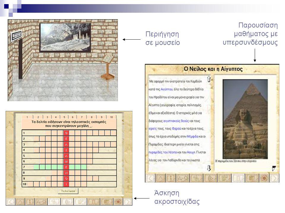 Άσκηση ακροστοιχίδας Περιήγηση σε μουσείο Παρουσίαση μαθήματος με υπερσυνδέσμους