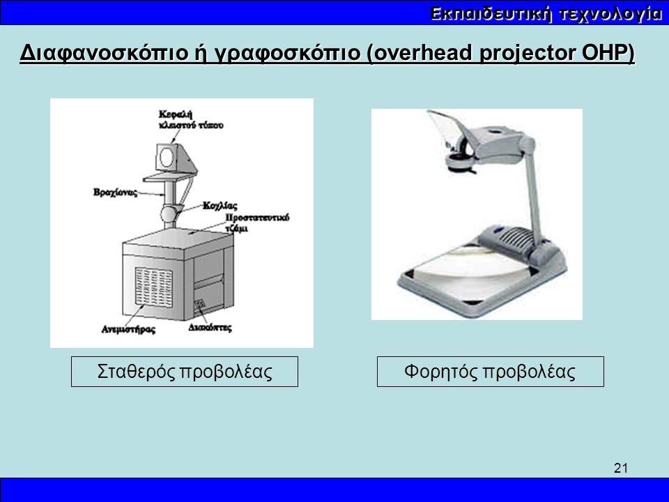 21 Εκπαιδευτική τεχνολογία Σταθερός προβολέας Διαφανοσκόπιο ή γραφοσκόπιο (overhead projector OHP) Φορητός προβολέας