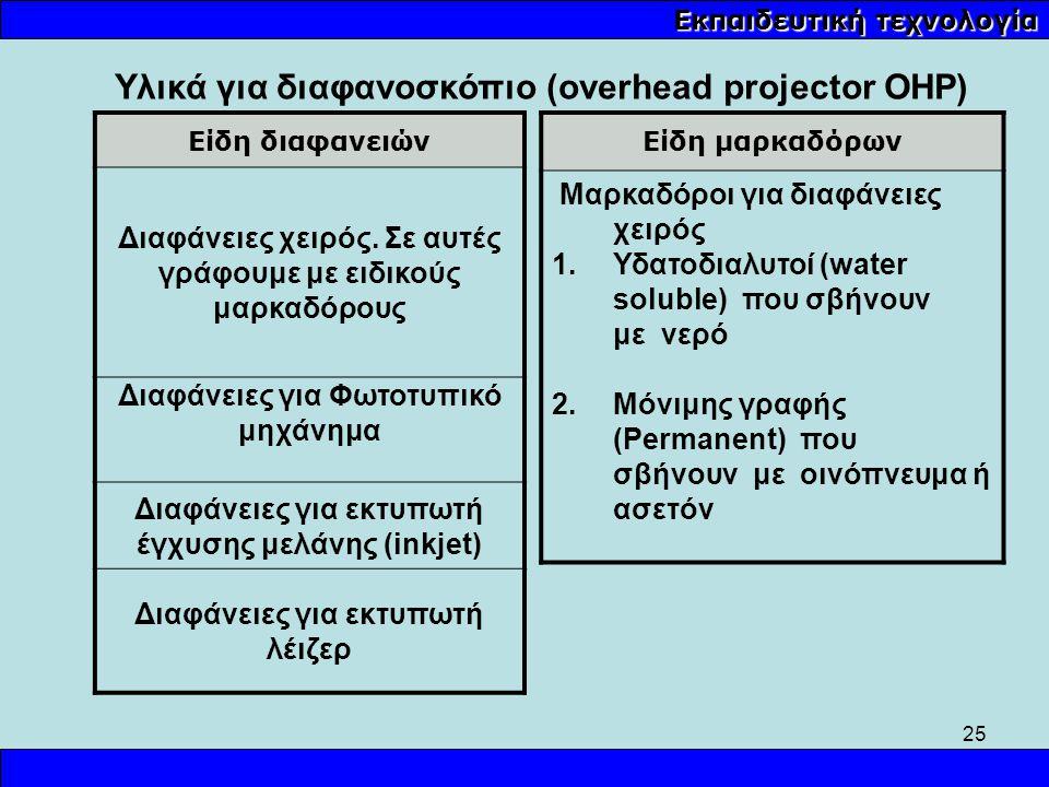 25 Εκπαιδευτική τεχνολογία Υλικά για διαφανοσκόπιο (overhead projector OHP) Είδη διαφανειών Διαφάνειες χειρός. Σε αυτές γράφουμε με ειδικούς μαρκαδόρο