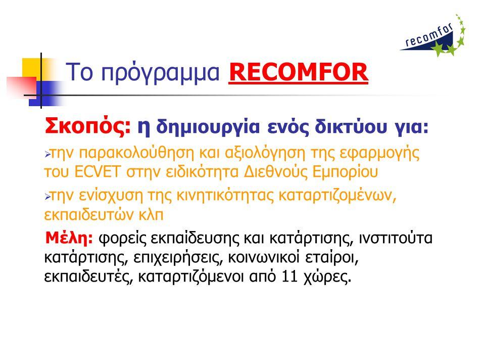 Το πρόγραμμα RECOMFORRECOMFOR Σκοπός: η δημιουργία ενός δικτύου για:  την παρακολούθηση και αξιολόγηση της εφαρμογής του ECVET στην ειδικότητα Διεθνούς Εμπορίου  την ενίσχυση της κινητικότητας καταρτιζομένων, εκπαιδευτών κλπ Μέλη: φορείς εκπαίδευσης και κατάρτισης, ινστιτούτα κατάρτισης, επιχειρήσεις, κοινωνικοί εταίροι, εκπαιδευτές, καταρτιζόμενοι από 11 χώρες.