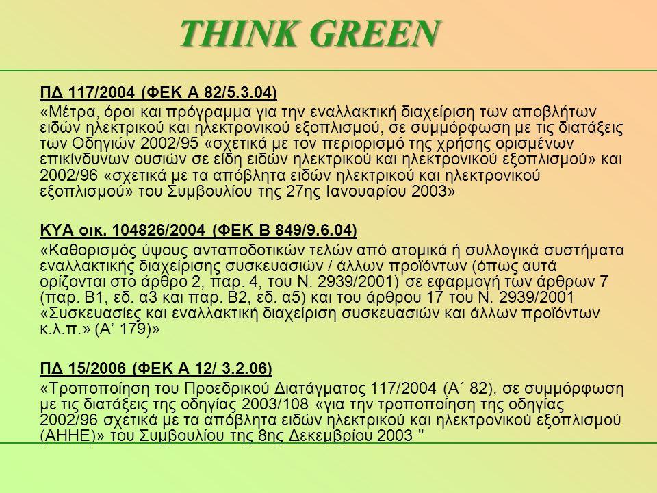 ΠΔ 117/2004 (ΦΕΚ Α 82/5.3.04) «Μέτρα, όροι και πρόγραμμα για την εναλλακτική διαχείριση των αποβλήτων ειδών ηλεκτρικού και ηλεκτρονικού εξοπλισμού, σε