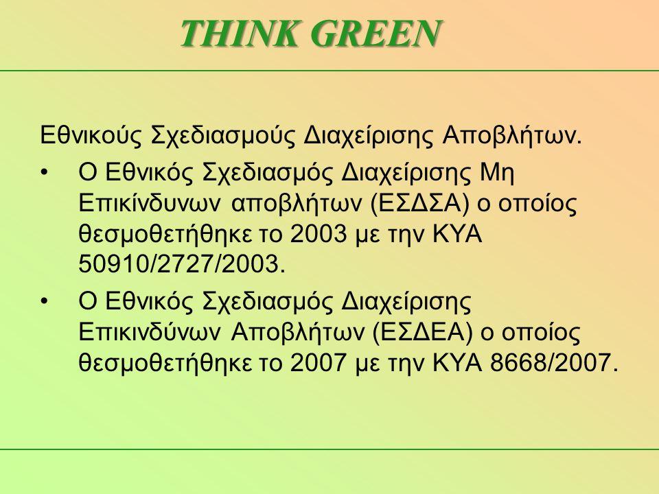 Εθνικούς Σχεδιασμούς Διαχείρισης Αποβλήτων. •Ο Εθνικός Σχεδιασμός Διαχείρισης Μη Επικίνδυνων αποβλήτων (ΕΣΔΣΑ) ο οποίος θεσμοθετήθηκε το 2003 με την Κ