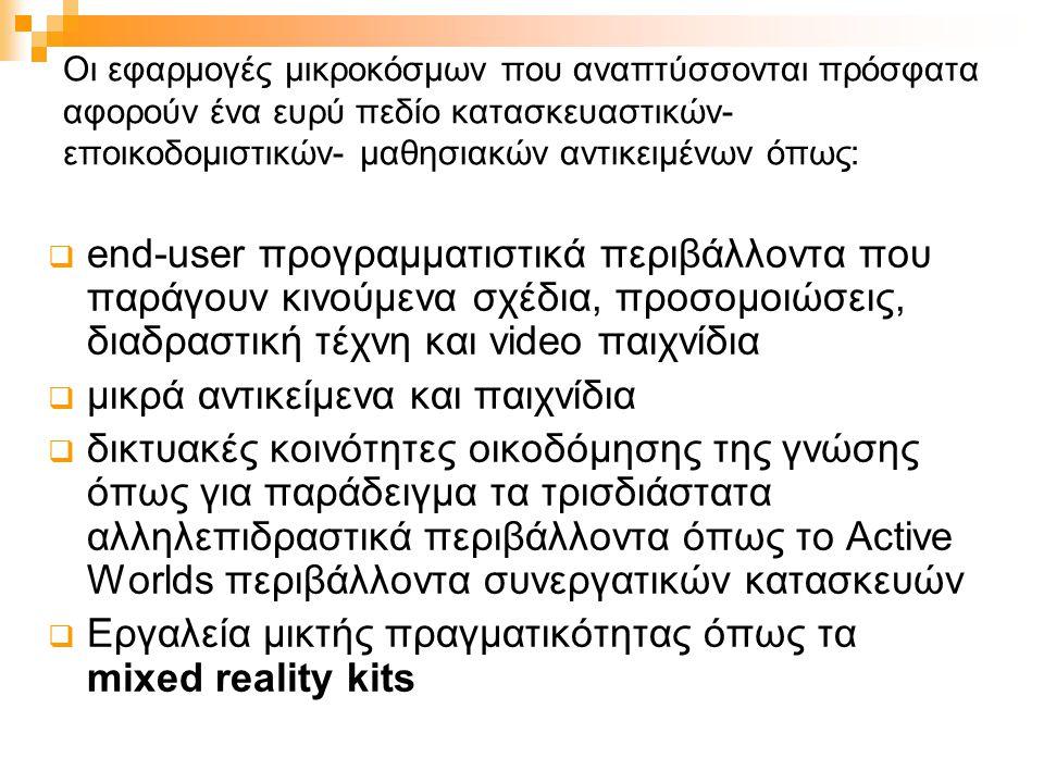 Οι εφαρμογές μικροκόσμων που αναπτύσσονται πρόσφατα αφορούν ένα ευρύ πεδίο κατασκευαστικών- εποικοδομιστικών- μαθησιακών αντικειμένων όπως:  end-user προγραμματιστικά περιβάλλοντα που παράγουν κινούμενα σχέδια, προσομοιώσεις, διαδραστική τέχνη και video παιχνίδια  μικρά αντικείμενα και παιχνίδια  δικτυακές κοινότητες οικοδόμησης της γνώσης όπως για παράδειγμα τα τρισδιάστατα αλληλεπιδραστικά περιβάλλοντα όπως το Active Worlds περιβάλλοντα συνεργατικών κατασκευών  Εργαλεία μικτής πραγματικότητας όπως τα mixed reality kits
