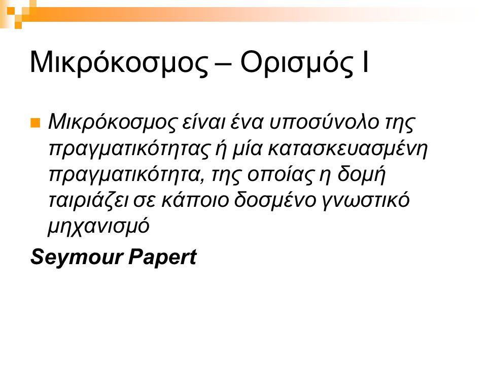 Μικρόκοσμος – Ορισμός Ι  Μικρόκοσμος είναι ένα υποσύνολο της πραγματικότητας ή μία κατασκευασμένη πραγματικότητα, της οποίας η δομή ταιριάζει σε κάποιο δοσμένο γνωστικό μηχανισμό Seymour Papert