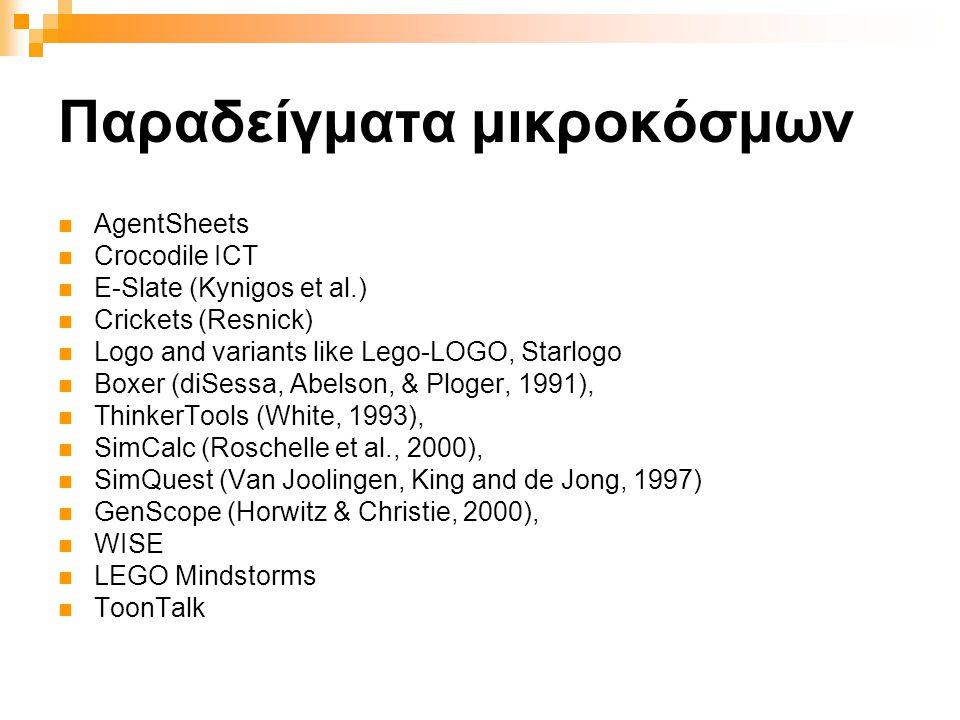 Παραδείγματα μικροκόσμων  AgentSheets  Crocodile ICT  E-Slate (Kynigos et al.)  Crickets (Resnick)  Logo and variants like Lego-LOGO, Starlogo  Boxer (diSessa, Abelson, & Ploger, 1991),  ThinkerTools (White, 1993),  SimCalc (Roschelle et al., 2000),  SimQuest (Van Joolingen, King and de Jong, 1997)  GenScope (Horwitz & Christie, 2000),  WISE  LEGO Mindstorms  ToonTalk