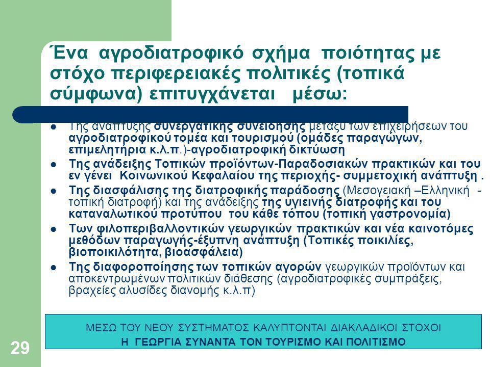 Ένα αγροδιατροφικό σχήμα ποιότητας με στόχο περιφερειακές πολιτικές (τοπικά σύμφωνα) επιτυγχάνεται μέσω:  Της ανάπτυξης συνεργατικής συνείδησης μεταξύ των επιχειρήσεων του αγροδιατροφικού τομέα και τουρισμού (ομάδες παραγώγων, επιμελητήρια κ.λ.π.)-αγροδιατροφική δικτύωση  Της ανάδειξης Τοπικών προϊόντων-Παραδοσιακών πρακτικών και του εν γένει Κοινωνικού Κεφαλαίου της περιοχής- συμμετοχική ανάπτυξη.