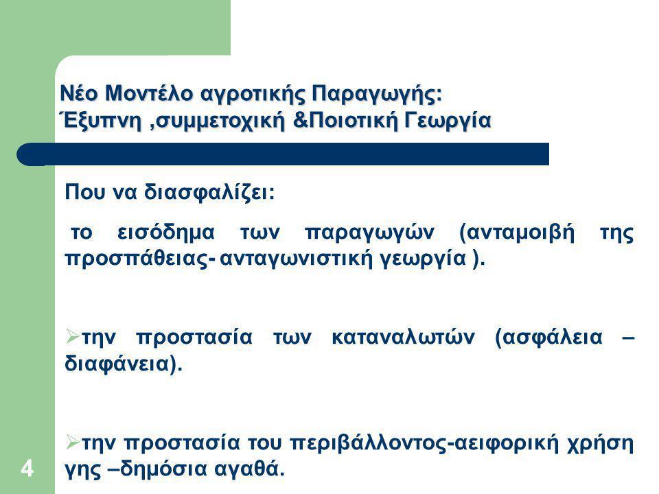 Νέο Μοντέλο αγροτικής Παραγωγής: Έξυπνη,συμμετοχική &Ποιοτική Γεωργία Που να διασφαλίζει: το εισόδημα των παραγωγών (ανταμοιβή της προσπάθειας- ανταγωνιστική γεωργία ).