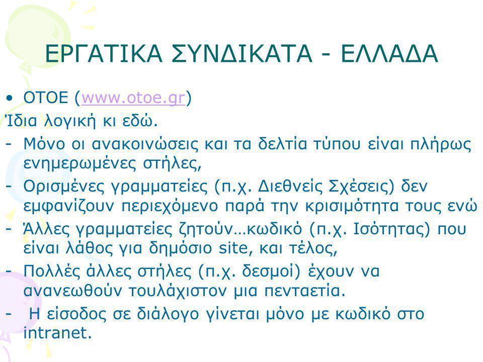 ΕΡΓΑΤΙΚΑ ΣΥΝΔΙΚΑΤΑ - ΕΛΛΑΔΑ •OTOE (www.otoe.gr)www.otoe.gr Ίδια λογική κι εδώ. -Μόνο οι ανακοινώσεις και τα δελτία τύπου είναι πλήρως ενημερωμένες στή
