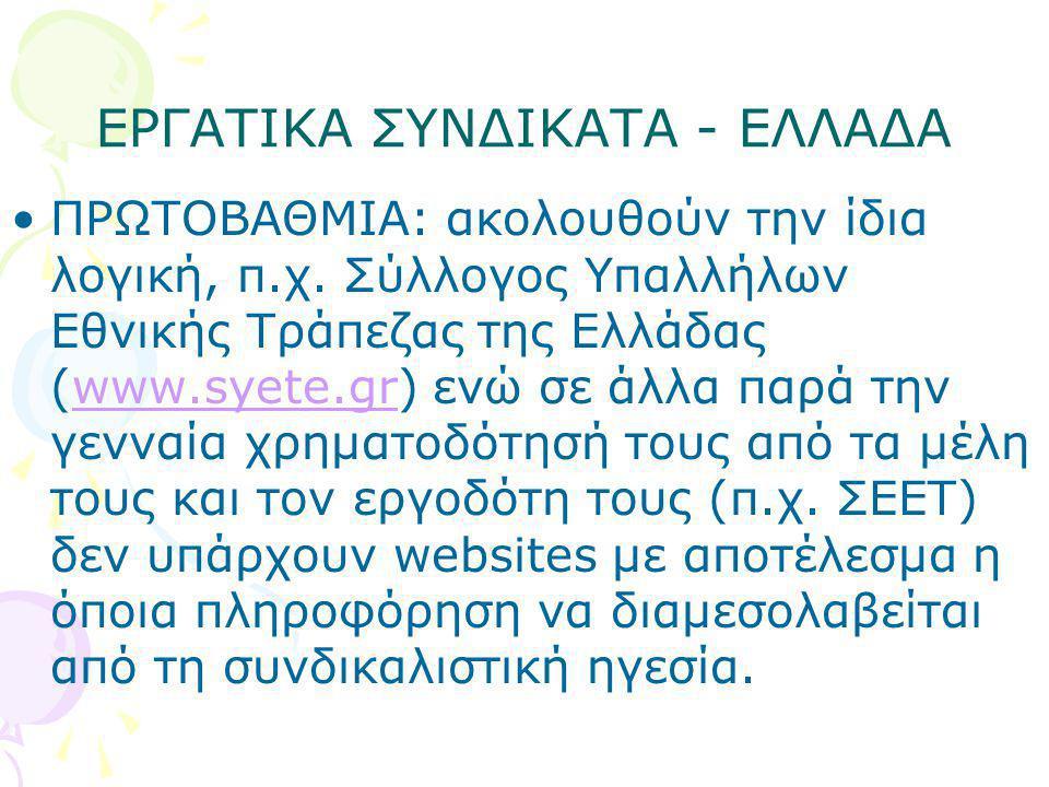 ΕΡΓΑΤΙΚΑ ΣΥΝΔΙΚΑΤΑ - ΕΛΛΑΔΑ •ΠΡΩΤΟΒΑΘΜΙΑ: ακολουθούν την ίδια λογική, π.χ. Σύλλογος Υπαλλήλων Εθνικής Τράπεζας της Ελλάδας (www.syete.gr) ενώ σε άλλα