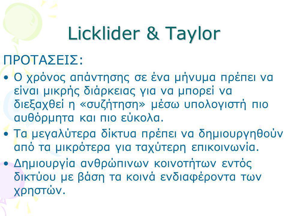 Licklider & Taylor ΠΡΟΤΑΣΕΙΣ: •Ο χρόνος απάντησης σε ένα μήνυμα πρέπει να είναι μικρής διάρκειας για να μπορεί να διεξαχθεί η «συζήτηση» μέσω υπολογισ