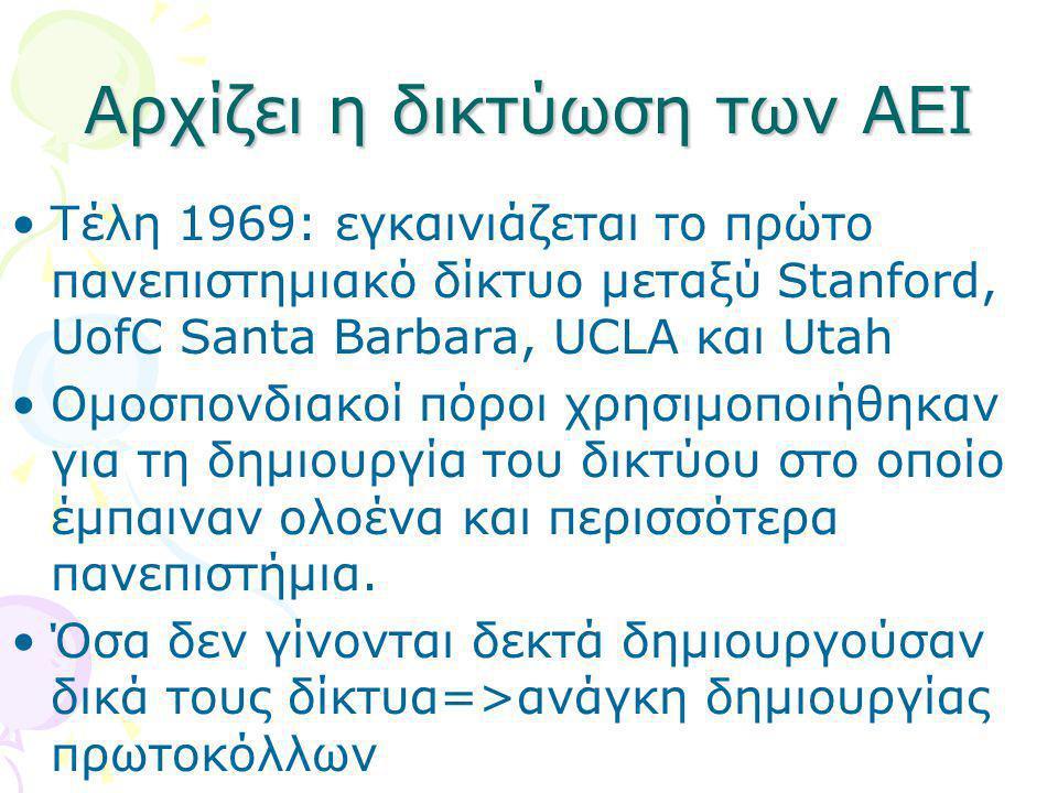 Αρχίζει η δικτύωση των ΑΕΙ •Τέλη 1969: εγκαινιάζεται το πρώτο πανεπιστημιακό δίκτυο μεταξύ Stanford, UofC Santa Barbara, UCLA και Utah •Ομοσπονδιακοί