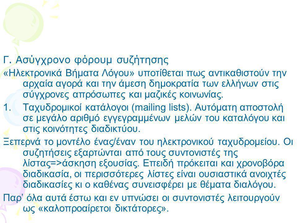 Γ. Ασύγχρονο φόρουμ συζήτησης «Ηλεκτρονικά Βήματα Λόγου» υποτίθεται πως αντικαθιστούν την αρχαία αγορά και την άμεση δημοκρατία των ελλήνων στις σύγχρ
