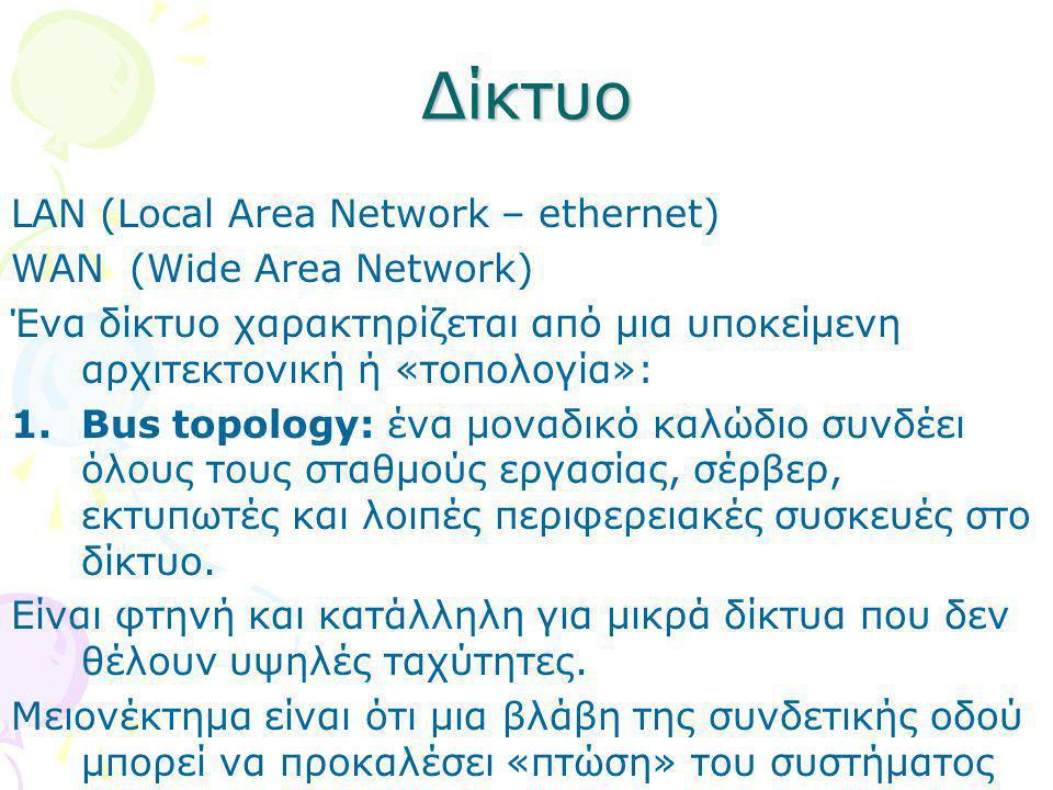 Δίκτυο LAN (Local Area Network – ethernet) WAN (Wide Area Network) Ένα δίκτυο χαρακτηρίζεται από μια υποκείμενη αρχιτεκτονική ή «τοπολογία»: 1.Bus top