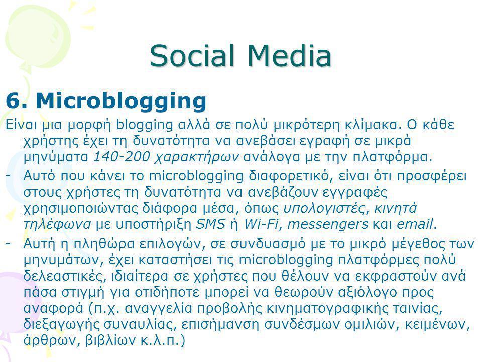 Social Media 6. Microblogging Eίναι μια μορφή blogging αλλά σε πολύ μικρότερη κλίμακα. Ο κάθε χρήστης έχει τη δυνατότητα να ανεβάσει εγραφή σε μικρά μ