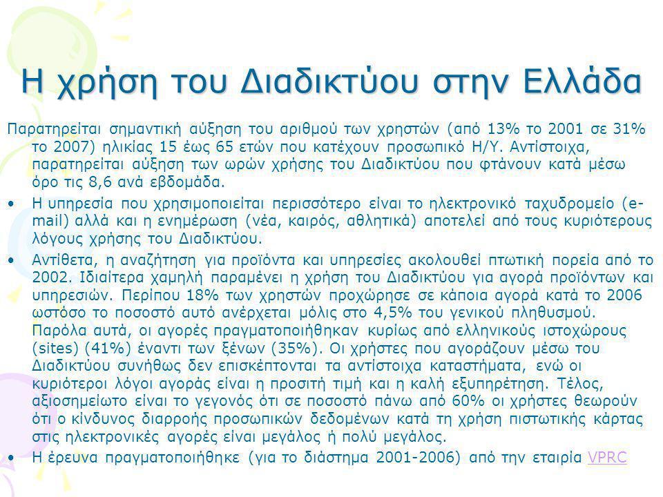 Η χρήση του Διαδικτύου στην Ελλάδα Παρατηρείται σημαντική αύξηση του αριθμού των χρηστών (από 13% το 2001 σε 31% το 2007) ηλικίας 15 έως 65 ετών που κ