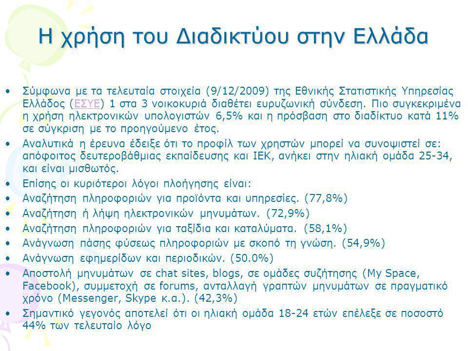 Η χρήση του Διαδικτύου στην Ελλάδα •Σύμφωνα με τα τελευταία στοιχεία (9/12/2009) της Εθνικής Στατιστικής Υπηρεσίας Ελλάδος (ΕΣΥΕ) 1 στα 3 νοικοκυριά δ