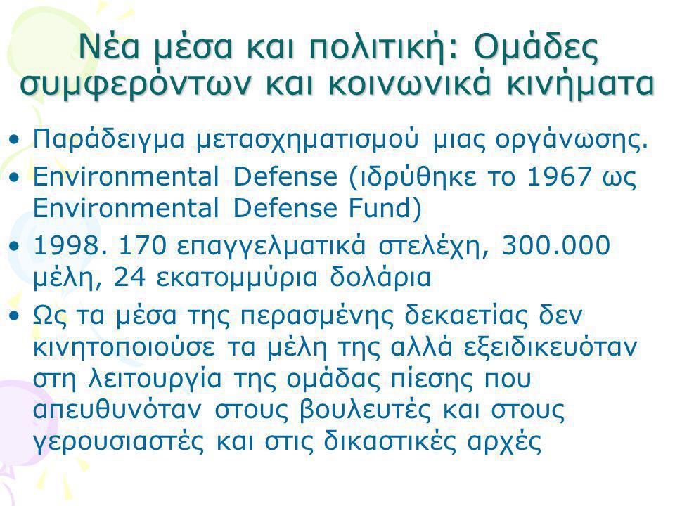 Νέα μέσα και πολιτική: Ομάδες συμφερόντων και κοινωνικά κινήματα •Παράδειγμα μετασχηματισμού μιας οργάνωσης. •Environmental Defense (ιδρύθηκε το 1967
