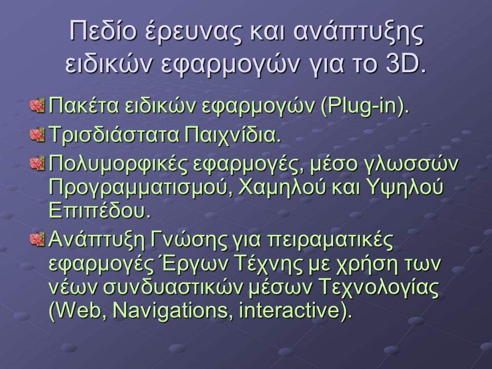 Πεδίο έρευνας και ανάπτυξης ειδικών εφαρμογών για το 3D. Πακέτα ειδικών εφαρμογών (Plug-in). Τρισδιάστατα Παιχνίδια. Πολυμορφικές εφαρμογές, μέσο γλωσ