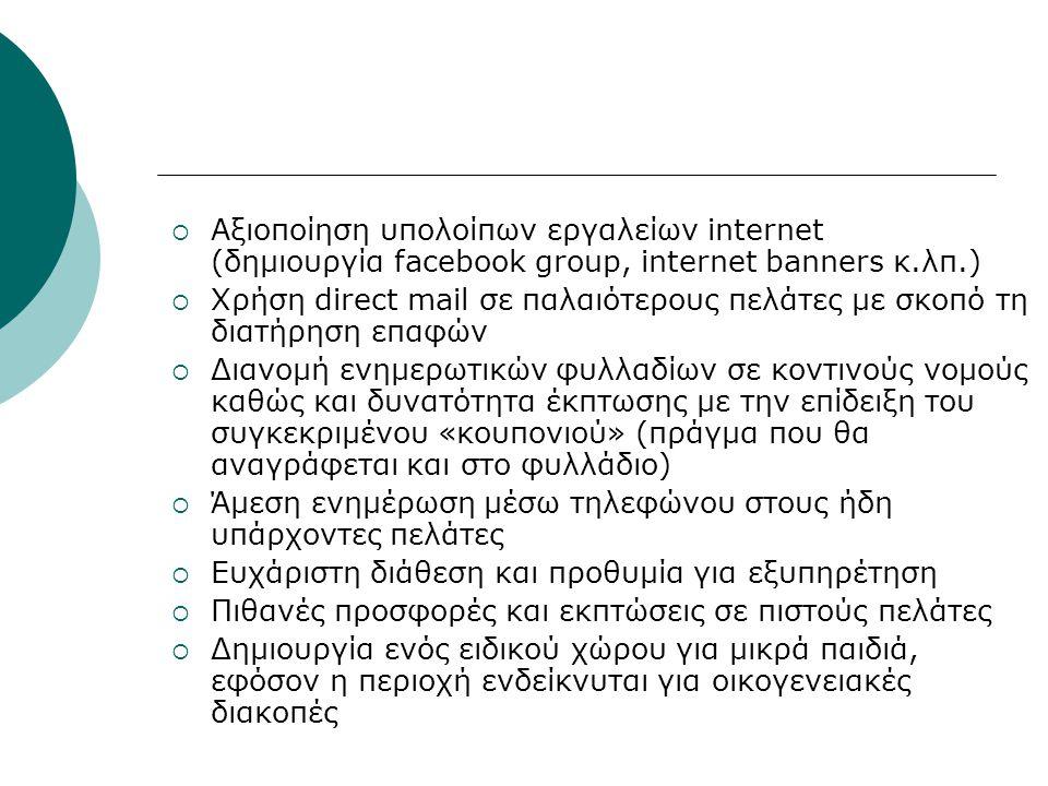  Αξιοποίηση υπολοίπων εργαλείων internet (δημιουργία facebook group, internet banners κ.λπ.)  Χρήση direct mail σε παλαιότερους πελάτες με σκοπό τη